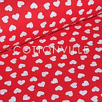 Бязь Сердечки мелкие на красном, фото 1