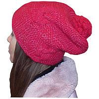 Женская вязаная шапка - носок (утепленный вариант) с помпоном, объемной ручной вязки