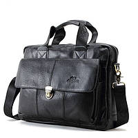 Мужская кожаная сумка Ox Bag Briefcase (чёрная, натуральная кожа)