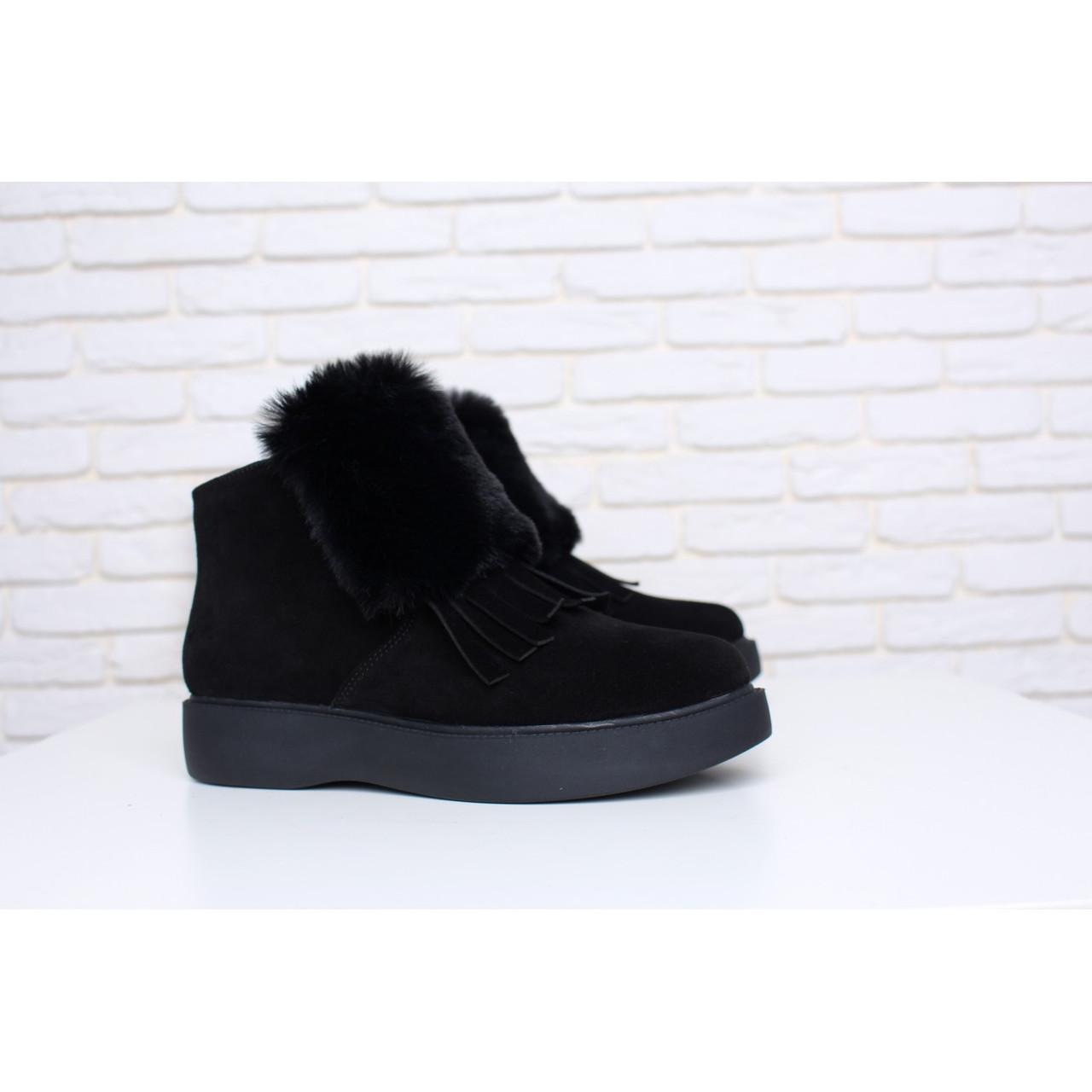 Зимние замшевые черные ботинки с опушкой