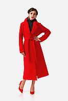 Пальто кашемировое на подкладке оптом. Модель ПЛ003_красный.
