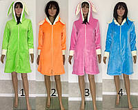 Женский халат на молнии капюшон с ушками 42-48 р, женские халаты оптом от производителя