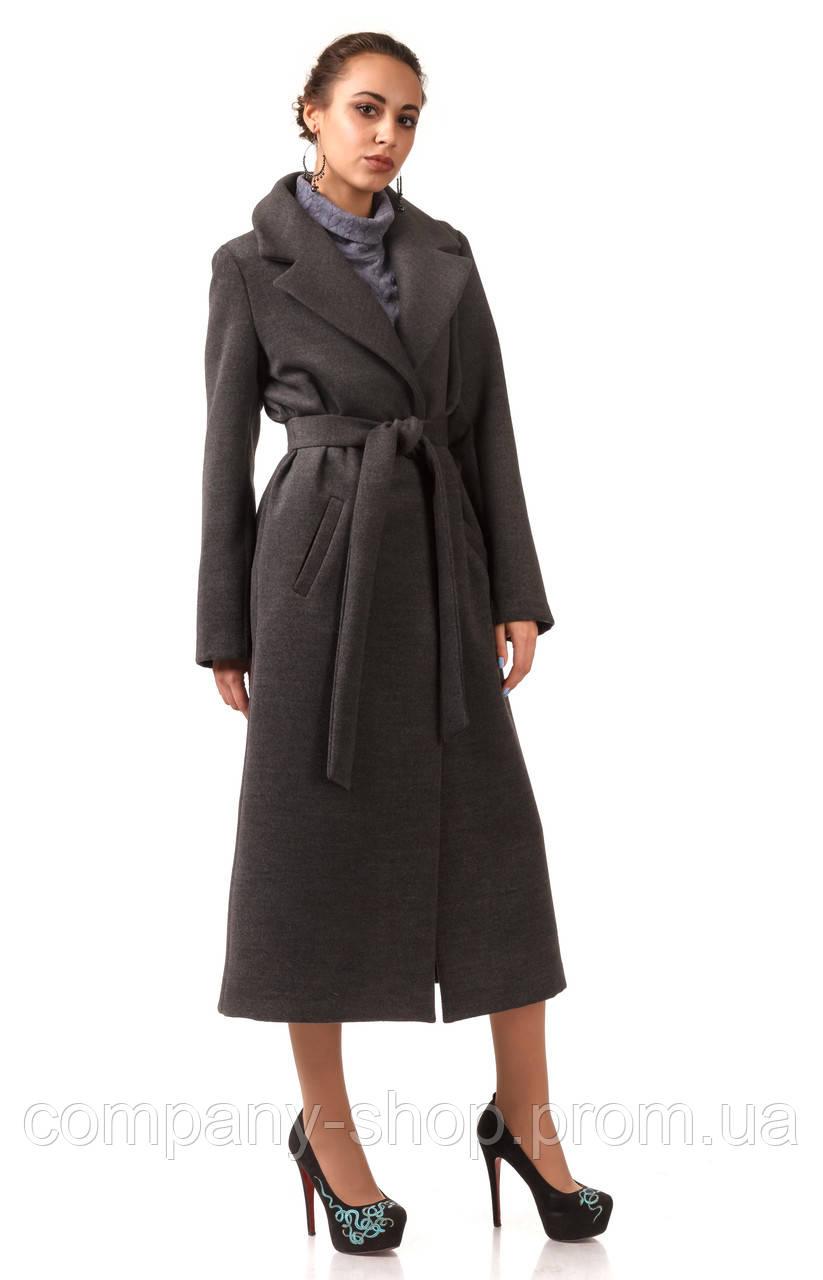 Пальто кашемировое на подкладке оптом. Модель ПЛ003_серый.