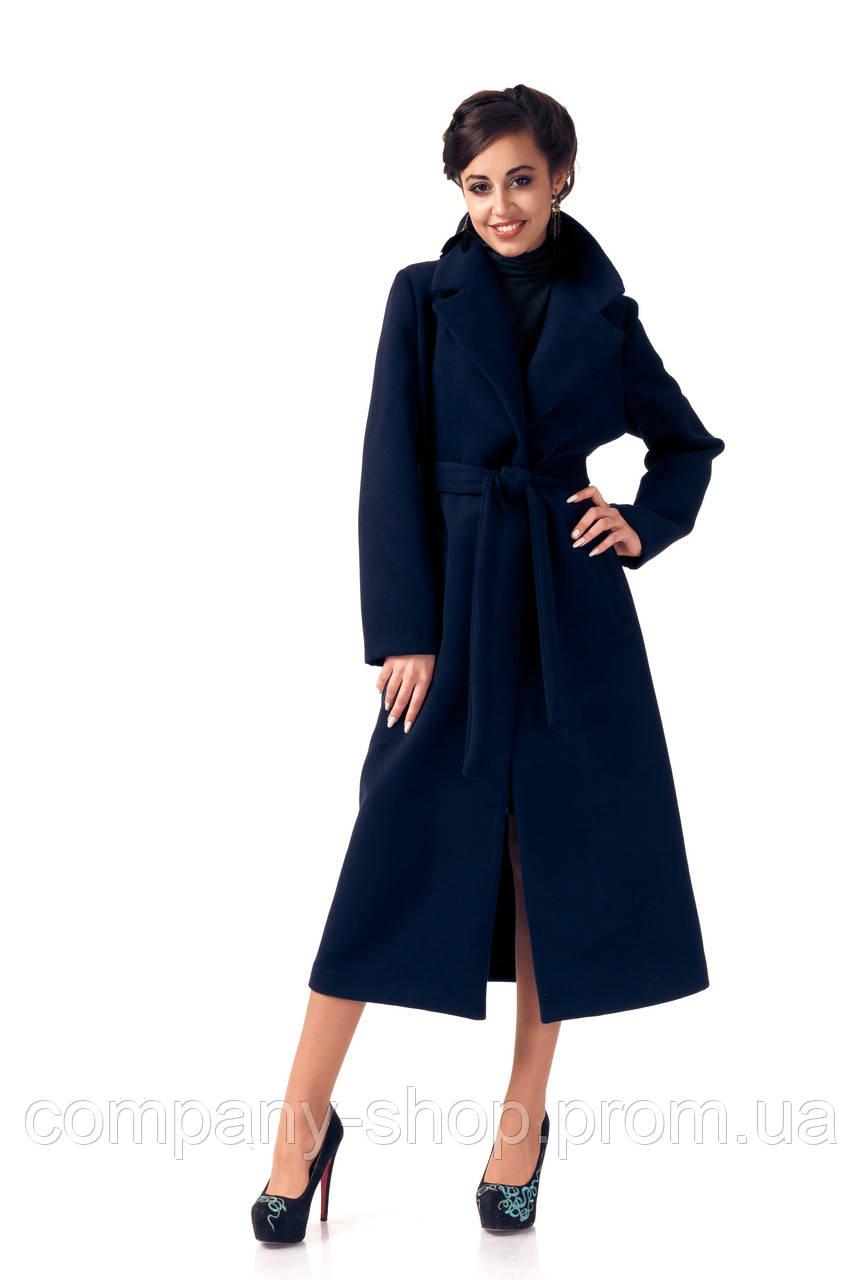 Пальто кашемировое на подкладке оптом. Модель ПЛ003_синий.