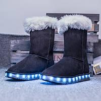 Угги со светящейся подошвой LED (USB подзарядка), Черные высокие, размер 30,31,32,33,34,36,37,40