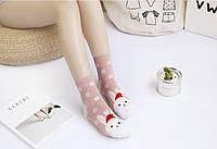 Носки хлопковые с новогодним принтом девушке