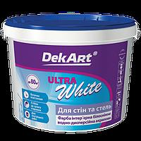 """Краска интерьерная для стен и потолков белоснежная """"Ultra White"""" DekArt 3л"""