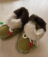 Зимові дитячі пінетки з натурального хутра та шкіри розмір 10-12 см c802c49bbcff7
