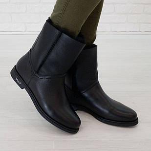 Женские полусапоги из натуральной кожи 36 размер с мехом Woman's heel черные на низкой подошве