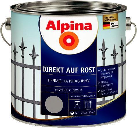 ЭМАЛЬ ГЛАДКАЯ ALPINA DIREKT AUF ROST антикоррозионная (RAL 9006 Серебристый) 0,75л