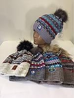 Зимняя шапка узор мальчик р.52-56