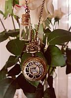 Женские винтажные малые (2,5см) часы подвеска с бутылочкой воспоминаний