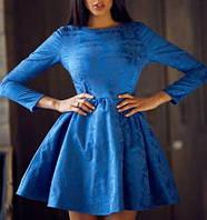 Платье жаккардовое пышная юбка, синее, фото 1