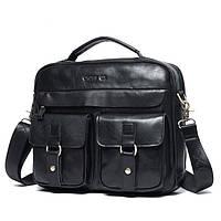 Мужская кожаная сумка Ox Bag Soft (чёрная, натуральная кожа)