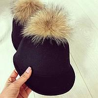 Женская шапочка из фетра, декор мех-песца   22П11008