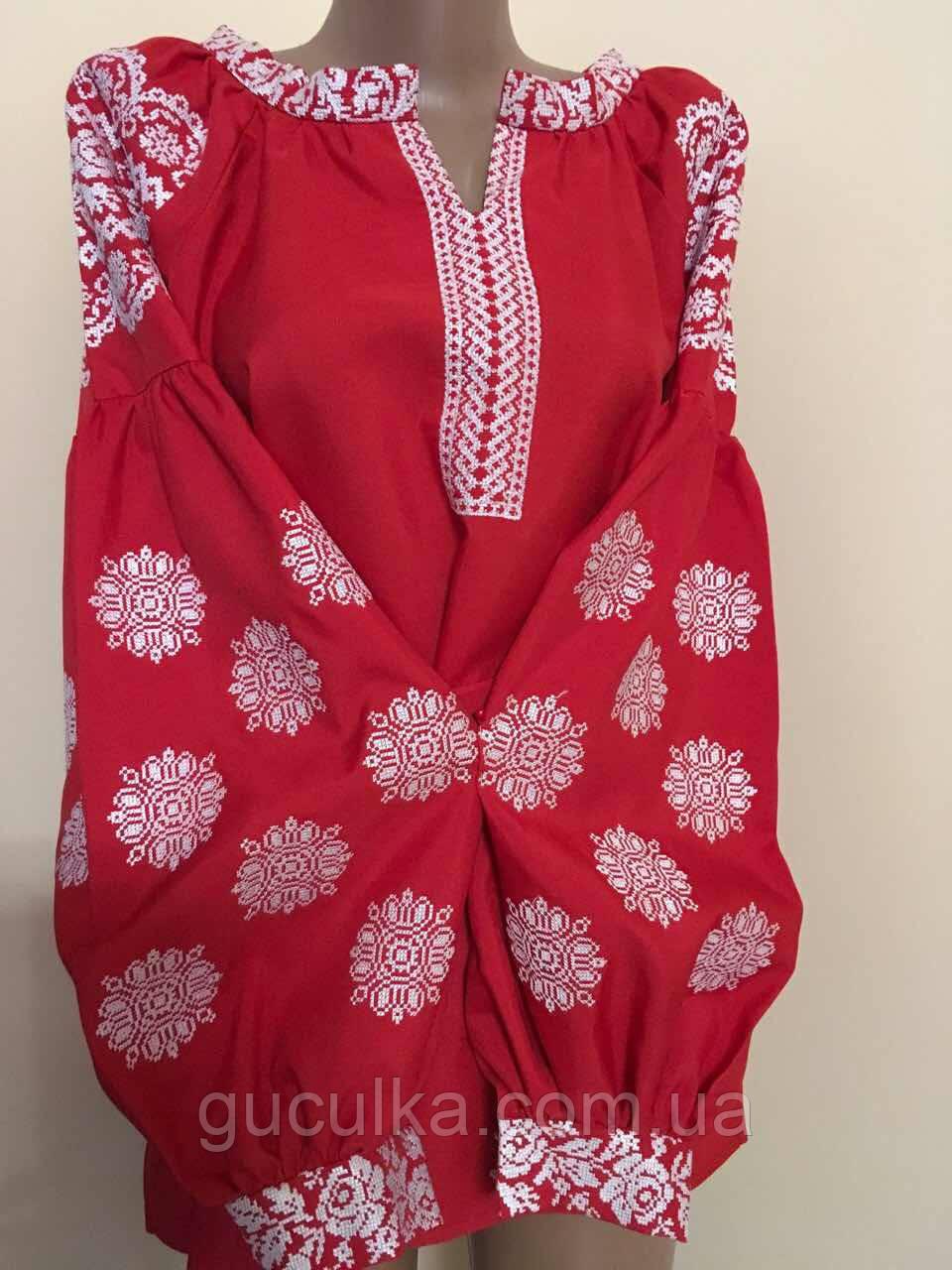 Вишиванка червона на габардині в стилі Бохо - Інтернет-магазин
