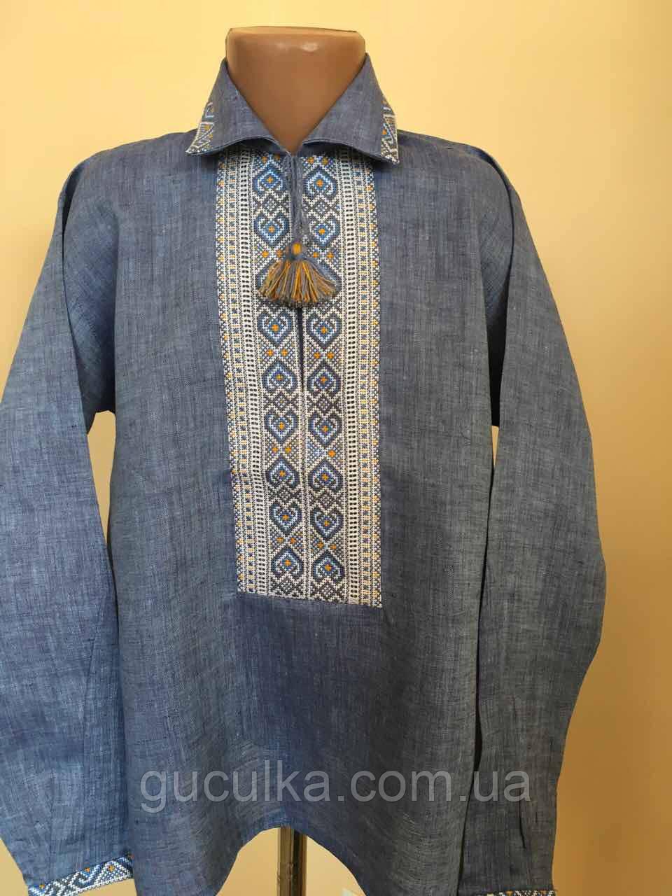 b071047263a157 Вишиванка синій льон на комірець для хлопчика 9-10 років: продажа ...