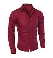 Стильная мужская приталенная рубашка в британксом стиле длинный рукав M- XXL красная
