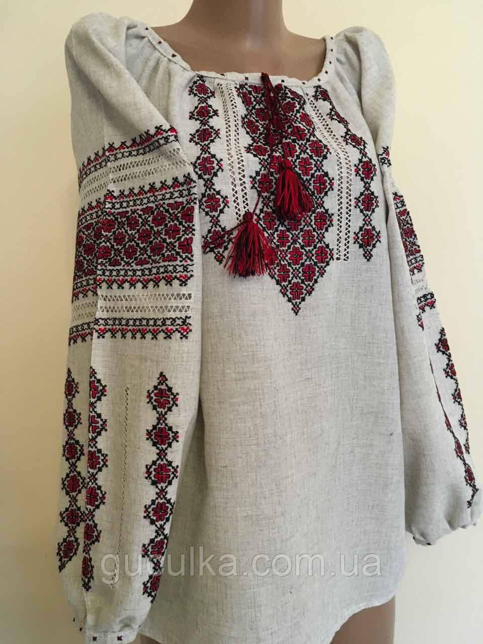 ba43819ddd9b1a Вишиванка жіноча ручної роботи з сірого льону розмір 50 (ХХL) -  Інтернет-магазин