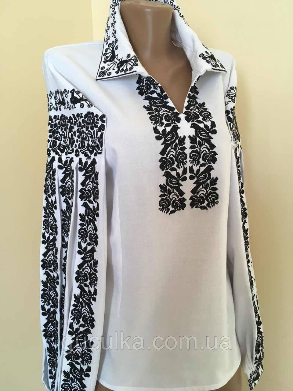 Вишита жіноча сорочка біла з чорним орнаментом розмір 8c3927a09392c