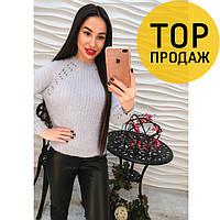 Женский свитер серый, стильный / женский свитер с ангорой, молодежный, 2018