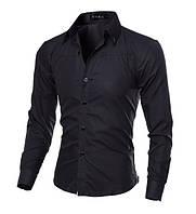 Стильная мужская приталенная рубашка в британксом стиле длинный рукав M- 5XL черная код 1
