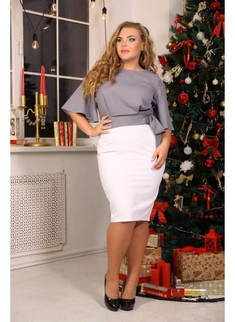 Женская элегантная блуза Лидс цвет серый / размер 48-72