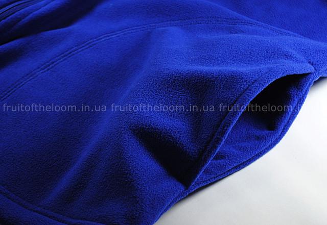 Ярко-синяя мужская классическая флисовая кофта на замке