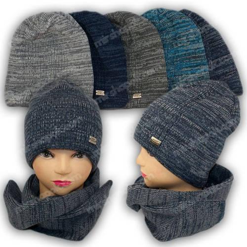 Комплект - шапка и шарф для мальчика, р. 45-50, Agbo (Польша), подкладка флис, 1250