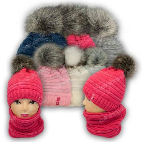 Комплект шапка и шарф (труба) для девочки с люрексом, р. 52-54, подкладка флис, 7091