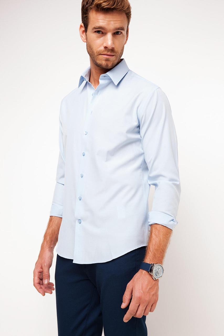 Голубая мужская рубашка DeFacto/Де Факто