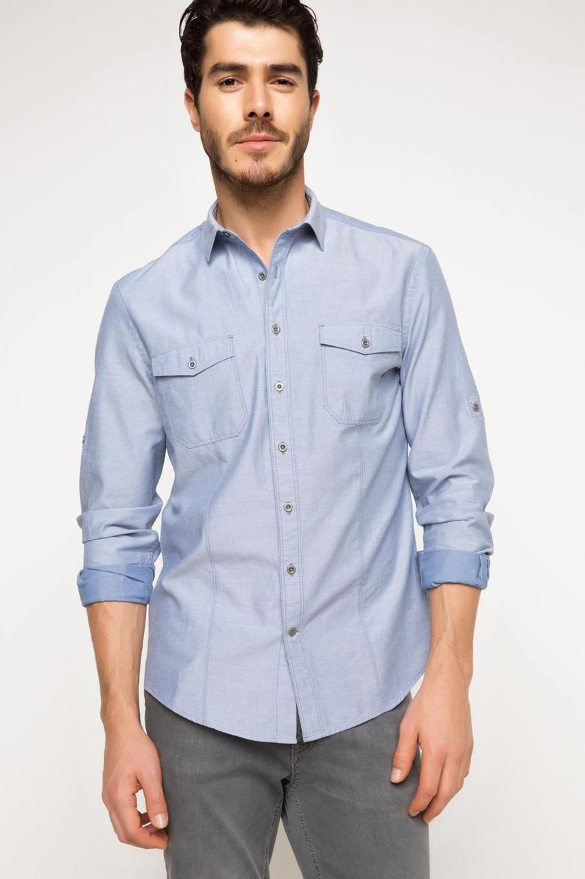 Голубая мужская рубашка DeFacto/Де Факто с карманами