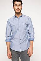 Голубая мужская рубашка DeFacto/Де Факто с карманами, фото 1