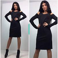 Платье черное ниже колен, верх майкой, рукав на палец, фото 1