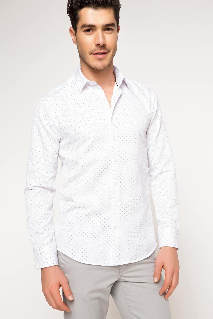 Белая мужская рубашка DeFacto/Де Факто