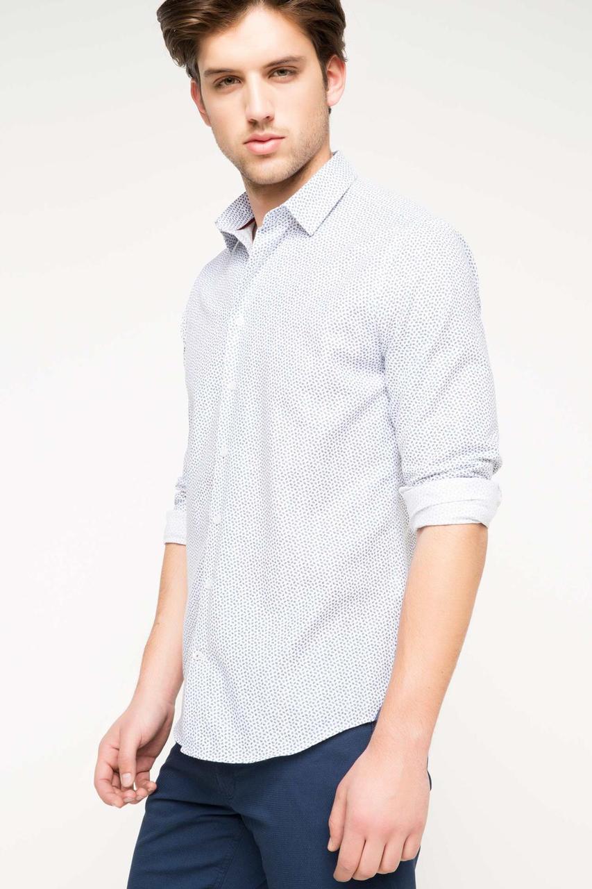 Белая мужская рубашка DeFacto/Де Факто в синие точки