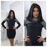 Платье черно-серое с украшением на груди, фото 1