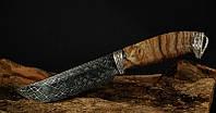 """Авторский нож """"Гефест"""" мозаичный дамаск, клык мамонта, белый металл (наличие уточняйте)"""