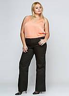 Модные штаны женские средней посадки темно-коричневого цвета Julia