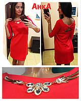 Платье свободное с бантом на спинке и украшением, расцветки, фото 1