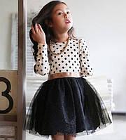 Платье люрекс (бел-черн) 100,110,120,130,140