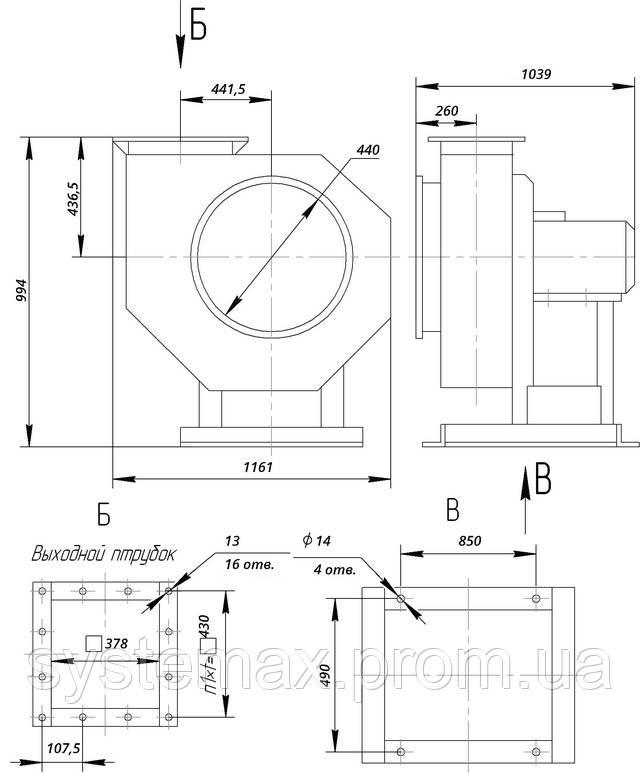 ВЦП 6-46 6,3 (ВРП 120-46 6,3) габаритные и присоединительные характеристики чертеж