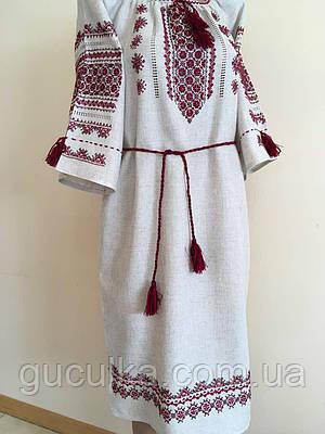Вишита сукня жіноча сірий льон розмір 48 (XL)  продажа ad36a18ca9a02