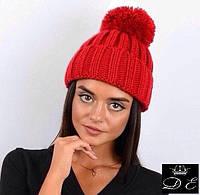 Женская крупной вязки шапка,декор-бубон 22П11017