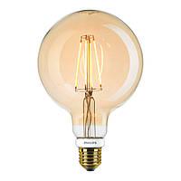 Лампа Эдисона G125 LED 7 Вт диммируемая Philips филамент золотая