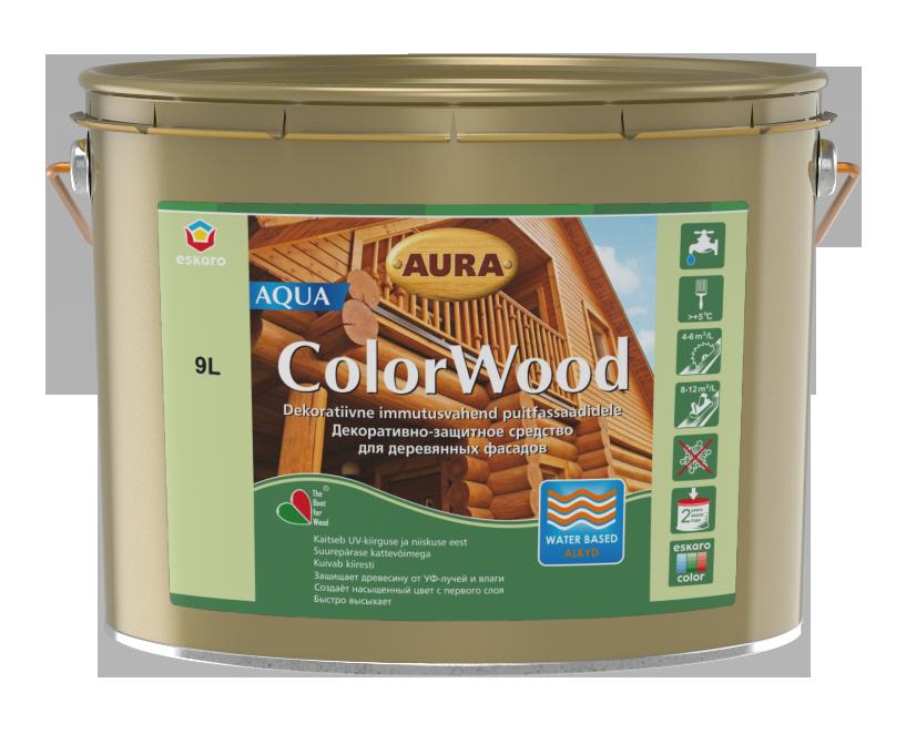 Декоративно-защитное средство для древесины Aura ColorWood Aqua (белый) 9л
