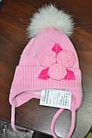 Зимняя шапка для девочки, Роза, 48-50 размер Климани