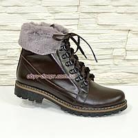 """Зимние женские ботинки кожаные коричневого цвета от производителя  ТМ """"Maestro"""""""