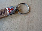 Брелок хлястик Mitsubishi 110мм светлый логотип эмблема Митсубиши автомобильный на авто ключи , фото 4