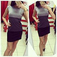 Платье трехцветное  короткий рукав, фото 1